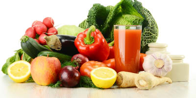 Fruits and vegetables representing part of a healthy diet for a diabetic