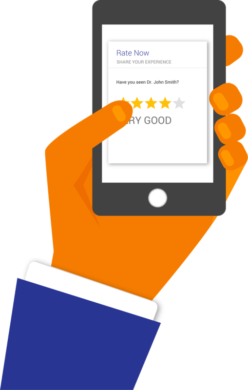 A person's hand taps a Very Good rating on a smartphone